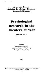 Psychological Research in the Theaters of War PDF