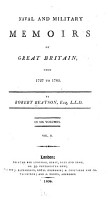 Naval and Military Memoirs of Great Britain  from 1727 to 1783 PDF