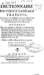 Dictionnaire du vieux langage françois