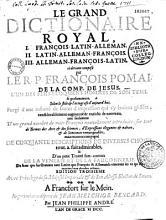 Le grand dictionnaire royal fran  ois latin allemand  latin allemand fran  ois  allemand fran  ois latin PDF