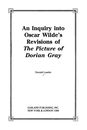An Inquiry Into Oscar Wilde's Revisions of The Picture of Dorian Gray