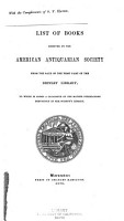 List of Books Received by the American Antiquarian Society from the Sale of the First Part of the Brinley Library PDF