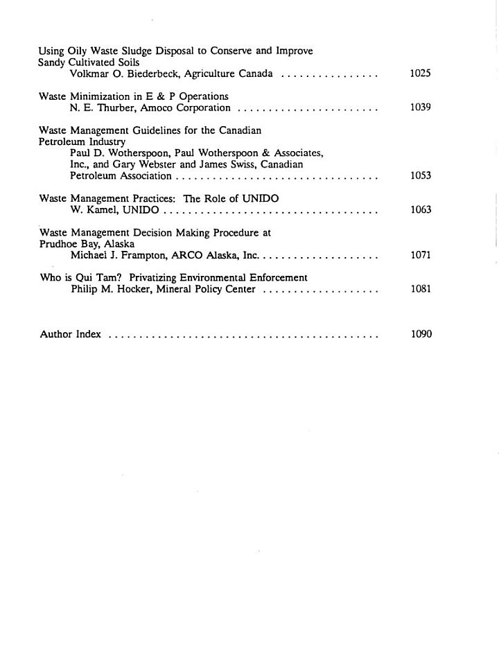 Proceedings of the First International Symposium on Oil and Gas Exploration and Production Waste Management Practices