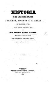 Historia de la literatura española, francesa, inglesa é italiana en el siglo XVIII.