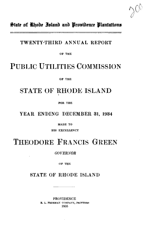 Annual Report of the Public Utilities Commission of the State of Rhode Island PDF