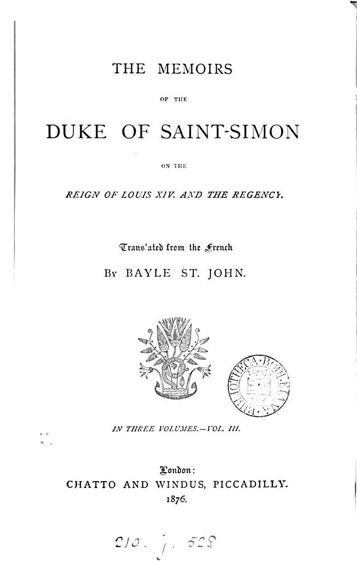 The memoirs of the duke of Saint Simon, abridged from the Fr. by B. St. John