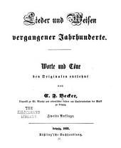 Lieder und Weisen veganger Jahrhunderte: Worte und Töne den Originalen entlehnt, Band 2