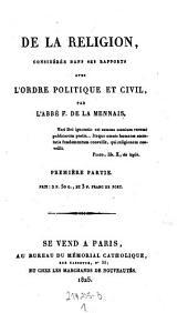 De la religion, considérée dans ses rapports avec l'ordre politique et civil: Page1