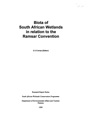 Biota of South African Wetlands in Relation to the Ramsar Convention