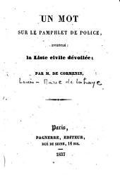 """Un Mot sur le pamphlet de police intitulé: """"La Liste civile dévoilée"""