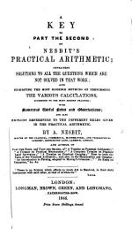 A Key to Part the second of Nesbit's Practical Arithmetic