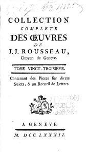 Collection complète des œuvres de J.J. Rousseau: Volume23