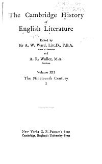 The Cambridge History of English Literature  The nineteenth century  1 3 PDF