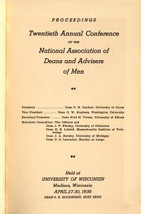 Proceedings of the     Annual Conference of the National Association of Deans and Advisers of Men