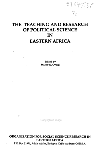 The Teaching and Research of Political Science in Eastern Africa PDF