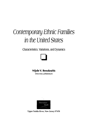 Contemporary Ethnic Families in the United States PDF