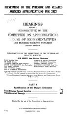 Department of the Interior and Related Agencies Appropriations for 2003  Justification of the budget estimates   United States Forest Service  Department of Energy PDF