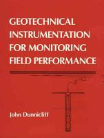 Geotechnical Instrumentation for Monitoring Field Performance PDF