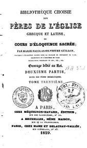 Bibliothèque choisie des pères de l'église grecque et latine: Volume30