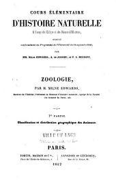 Cours élémentaire d'Histoire naturelle à l'usage des colléges et des maisons d'éducation, rédigé conformément au programme de l'Université du 14 septembre 1840 par MM. Milne Edward, A. de Jussieu et F. S. Beudant. Zoologie par M. Milne Edwards,...: Volume2