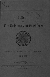 Report of the President of the University of Rochester, and the Report of the Treasurer