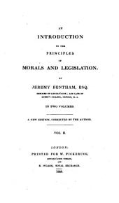 An Introduction to the Principles of Morals and Legislation: Volume 2