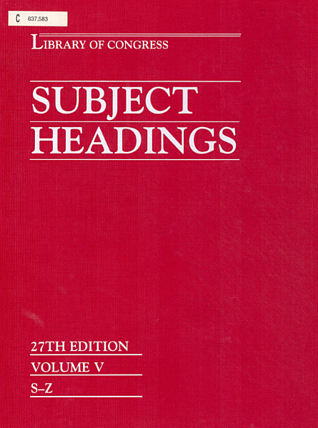 Download Library of Congress Subject Headings Book