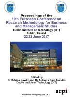 ECRM 2017 16th European Conference on Research Methods in Business and Management PDF