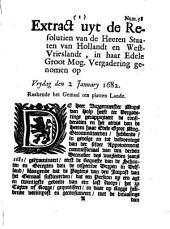 Extract uyt de resolutien van de heeren Staaten van Hollandt en Westvrieslandt [...] genomen op vrydag den 2 january 1682. Raakende het gemaal ten platten lande