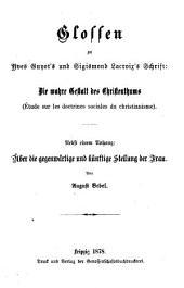 Glossen zu Yves Guyot's und Sigismund Lacroix's Schrift Die wahre Gestalt des Christenthums Étude sur les doctrines sociales du christianisme