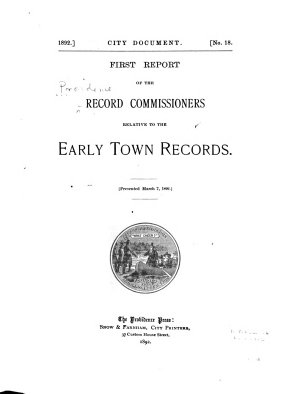 First  fifth  Report of the Record Commisssioners Relative to the Early Town Records