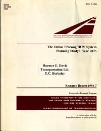 The Dallas Freeway HOV System Planning Study  Year 2015 PDF