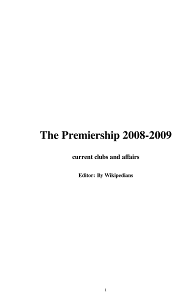 The Premiership 2008 2009