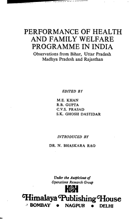 Performance of Health and Family Welfare Programme in India PDF