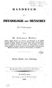Handbuch der Physiologie des Menschen für Vorlesungen: Band 2,Teile 1-2