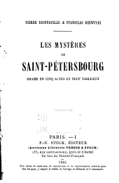 Les mystères de Saint-Pétersbourg: drame en cinq actes et neuf tableaux