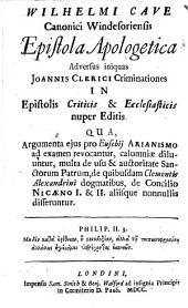 Epistola apologetica adversus iniquas J. Clerici criminationes