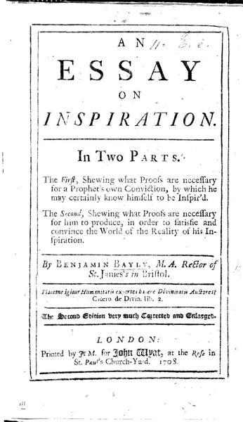 Essay On Inspiration The Second Edition Very Much Corrected And Enlarged