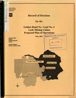 Payette National Forest  N F    The Golden Hand No 3 and No 4 Lode Mining Claims Proposed Plan of Operations PDF