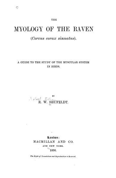 Download The Myology of the Raven  Corvus Corax Sinuatus   Book