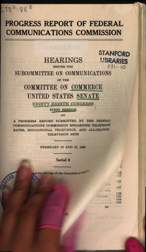 Progress Report of Federal Communications Commission  Hearings      88 1      February 18  27  1963