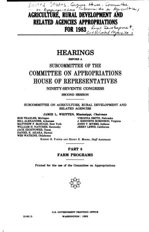Agriculture  Rural Development  and Related Agencies Appropriations for 1983  Farm programs