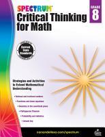 Spectrum Critical Thinking for Math  Grade 8 PDF