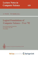 Logical Foundations of Computer Science - Tver '92
