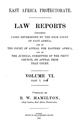 Law Reports   East Africa Protectorate PDF