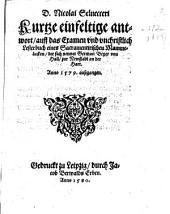 Kurze, einfeltige antwort auff das Examen und unchristlich Lesterbuch eines Sacramentirischen Mammeluken, der sich nennt Germ. Beyer von Hall