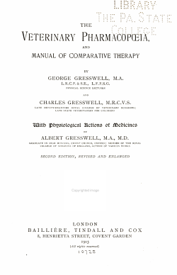 The Veterinary Pharmacopoeia  and Manual of Comparative Therapy PDF