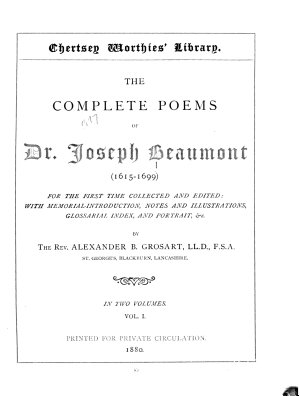 The Complete Poems of Dr  Joseph Beaumont  1615 1699   Memorial introduction  Psyche  cantos I XI PDF