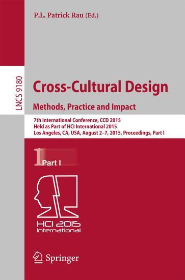 Cross Cultural Design Methods  Practice and Impact PDF