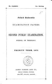 Second Public Examination: School of Theology